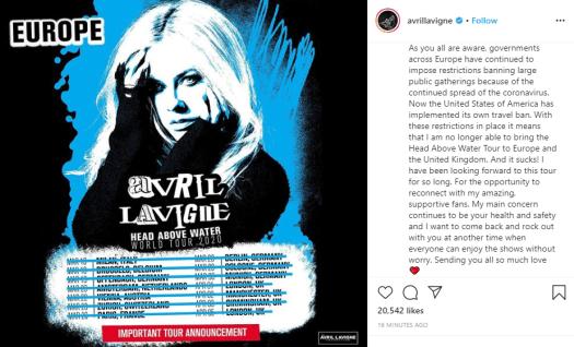 Avril Lavigne's tour cancellation announcement