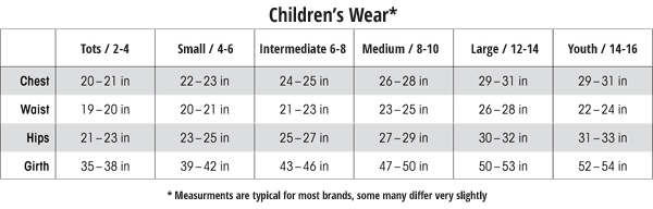 Childrens Dance Wear Sizes