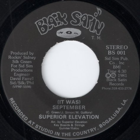 "Superior Elevation – (It Was) September (Black Satin) [7""] '1981"