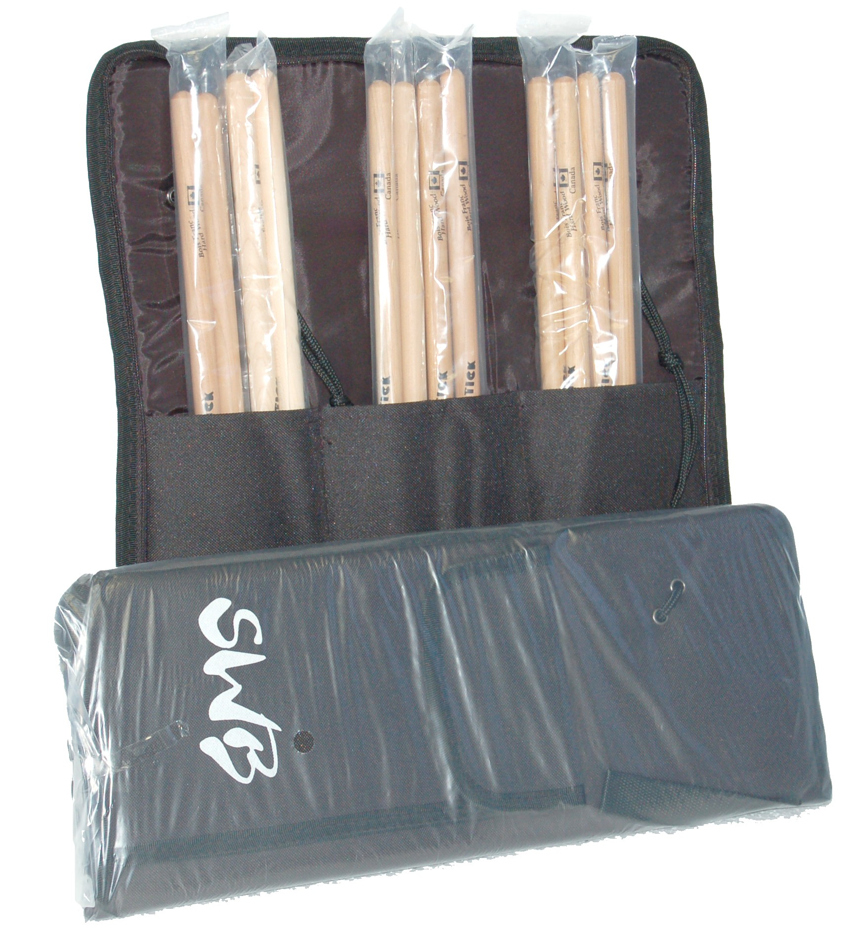 SWB DRUM BAG WITH 6 PAIR OF DRUM STICKS 2B