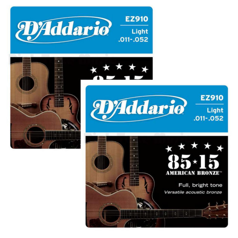 D'Addario EZ910 85/15 Bronze Acoustic Guitar Strings Light 11-52