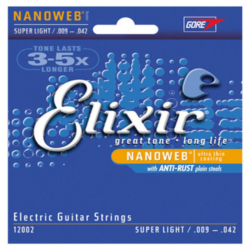 ELIXIR NANOWEB 12002 ELECTRIC GUITAR STRINGS SUPER LIGHT -09-42
