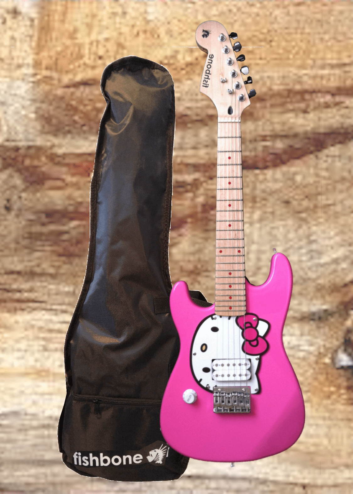 fishbone HELLO KITTY-PINK 3/4 Size LEFTY Travel Guitar