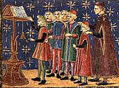 Medieval school choir with cantor and teacher