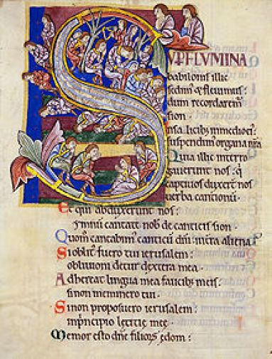 Initial S with illustration for Ps 137