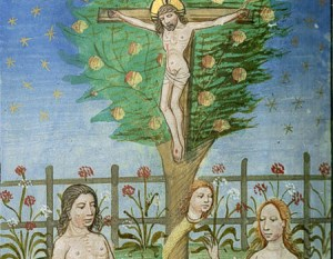 Christ on cross superimposed on tree in Paradise