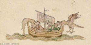 Mythical boat with monsters