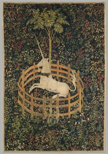 Unicorn in round enclosure