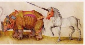 Armoured rhino and multi-coloured unicorn