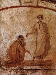 Jesus standing, woman touching robe