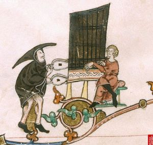 mediaeval organ with two people