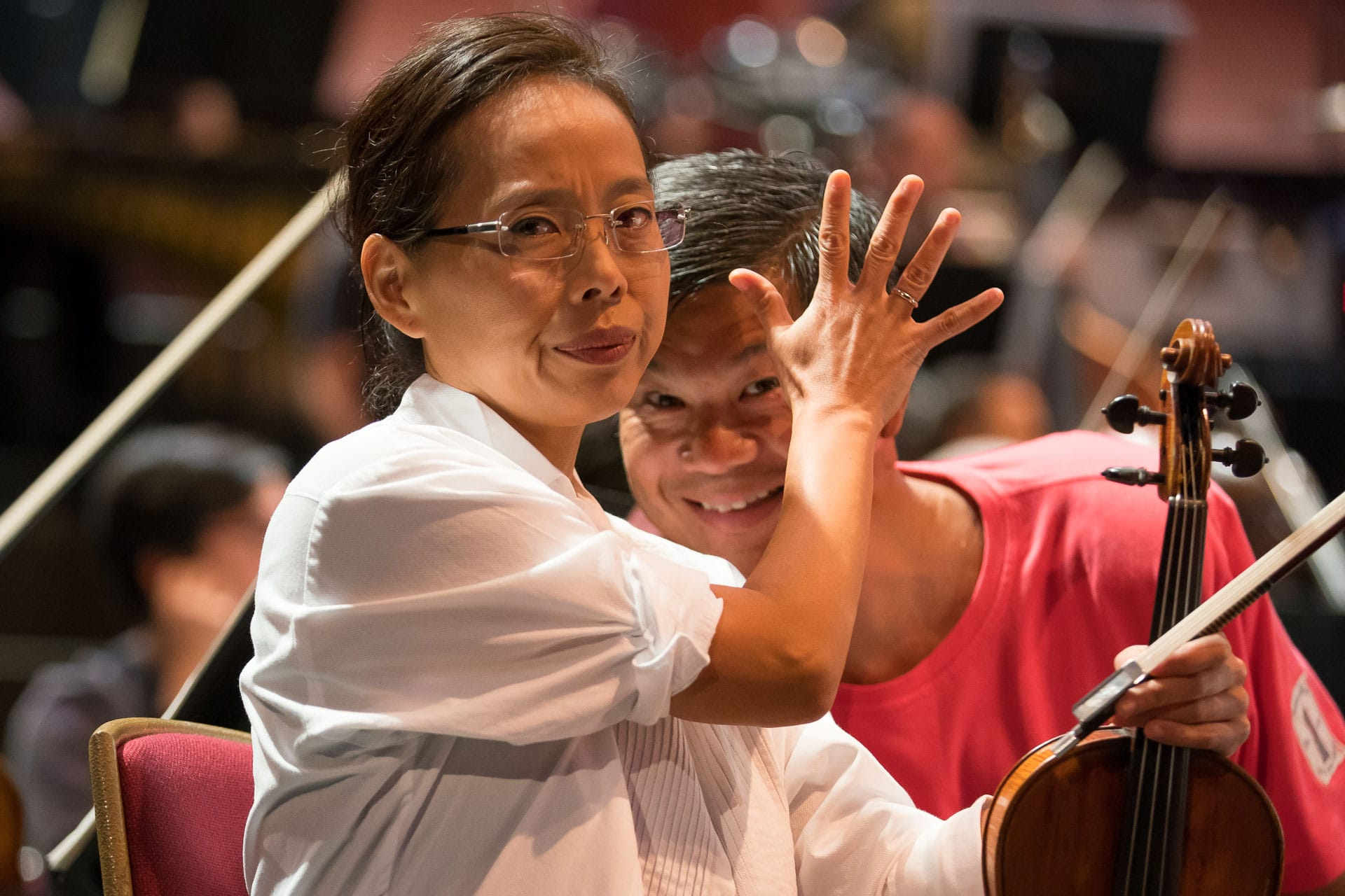 Susanne Park and Christopher Wu, 9/4/17 Pittsburgh Symphony Orchestra 2017 European Tour. Rehearsal at Royal Albert Hall ©Todd Rosenberg 2017