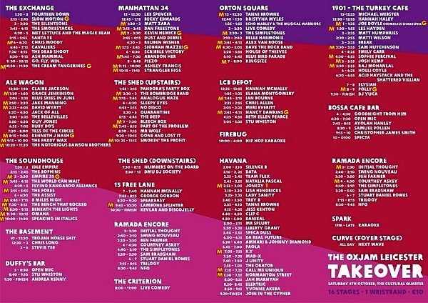 The full programme from the brochure by Oxjam 2014