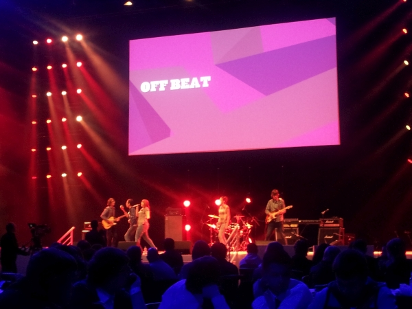 Off Beat on stage at the LG Area at the NEC, November 2014