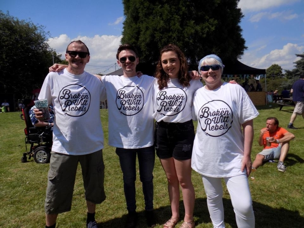 Carol Anne Salusbury-Byrne of Casbah (right) with promotional t-shirts at the De Monfort Hall recently.