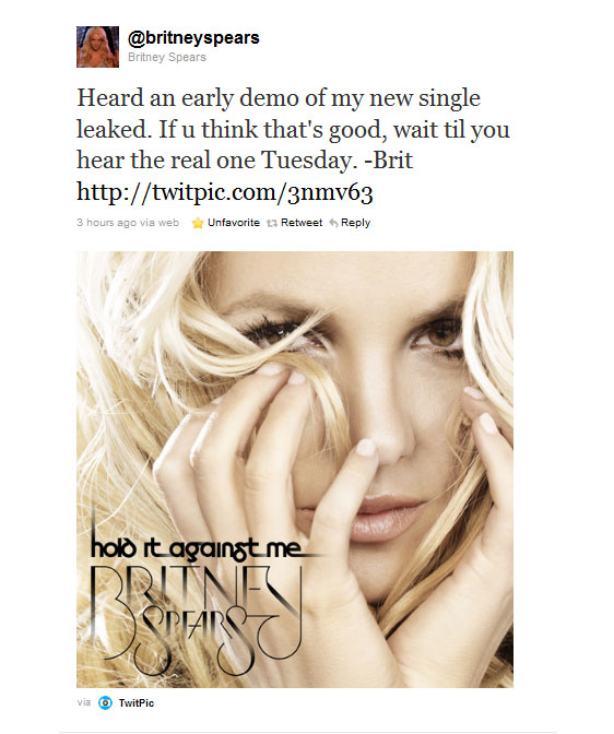 Britney Spears Unveils Single Artwork, Release Date for 'Hold It Against Me'
