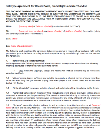 Artist performance agreement contract sample