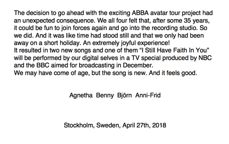 Abba announcement