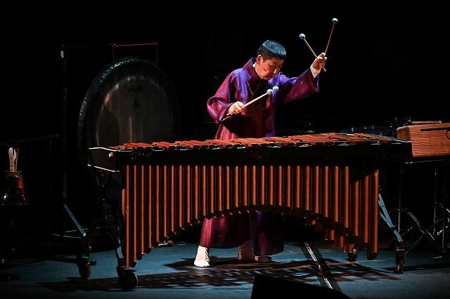 Midori Takada, at the Barbican (photo: Mark Allan/Barbican)