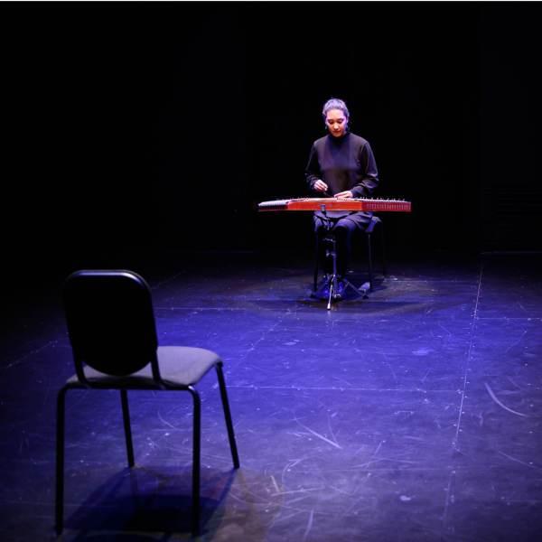 Saina Khaledi playing the santour at As dreams are made