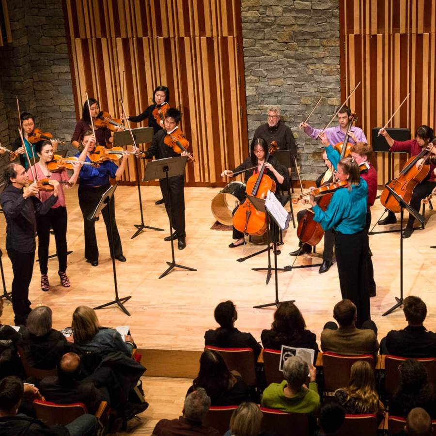 the Microcosmos Quartet and The Kessler Academy's String Orchestra perform on stage in front of a live audience