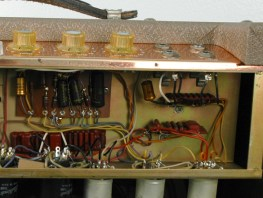 Three such resin encapsulations can be seen in this photo of an R15-T amp.