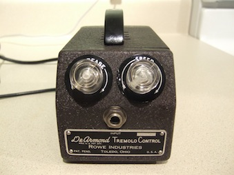 Model 60A Tremolo pedal, with serial number, requires 110V 60Hz electrical supply (Photo copyright Michael P Tachenko)