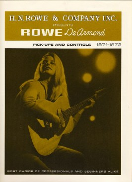 1971/72 dated Olive catalogue Rowe DeArmond catalog, eight pages