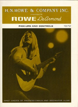 1972 dated Olive catalogue Rowe DeArmond catalog, eight pages.
