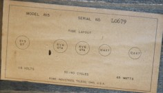 The 'tubes layout' label also shows the amp's serial number. This number includes an alphabetic prefix. The aphabetic prefixes already seen include A, B, E, HI, J, JI, L, MH, MK and ML. The logic behind this system awaits clarification.