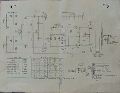 A schematic diagram and instructions were supplied with every amp. An interesting feature of every tube amp sold under both DeArmond and CF Martin brands was the inclusion of a number of electronic components in one or more maroon-coloured resin-encapsulations. This item is seen is seen at the top of the schematic diagram above, marked EP-9097, with ten numbered leads exiting from it. The item itself can be seen in the lower centre of the amp chassis in the rear view of the amp above.