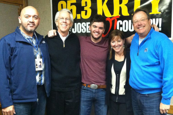 Sidewalk Records' Dylan Scott stopped for a visit with San Jose station, KRTY. Pictured (L-R) Roger Fregoso (Sidewalk Records), Jim Ed Norman, Dylan Scott, Julie Stevens (KRTY PD/MD/Mornings) and Nate Deaton (KRTY GM)
