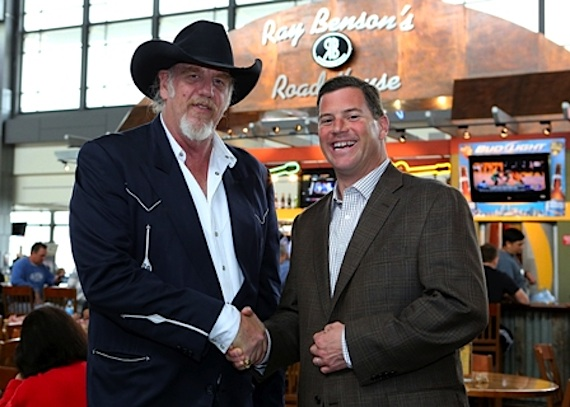 Pictured (L-R):Ray Benson and Executive Director of Writer/Publisher Relations Mark Mason. Photo credit: Sandy L. Stevens, Courtesy of City of Austin Aviation