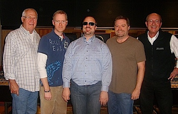 Pictured (L-R): Bob Rodgers (artist manager), Scott Williamson (instrumentalist), Mote, Frank Rogers (producer), and Ken Harding (president of New Haven Records).