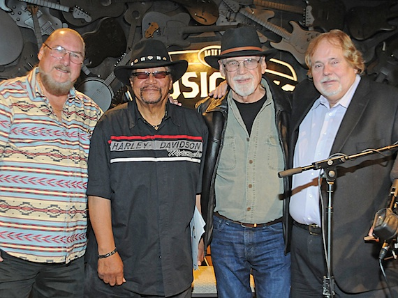 Pictured (L-R): Steve Cropper, Billy Cox, Duane Eddy and Joe Chambers announce the 2014 inducteesinto the Musicians Hall of Fame. Photo: Alan Mayor.