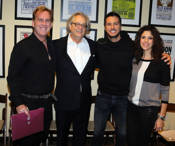 Pictured (L-R): Live Nation's Brian O'Connell, Country Music Hall of Fame and Museum's Kyle, Luke Bryan and manager Kerri Edwards. Photo:  Alan Poizner