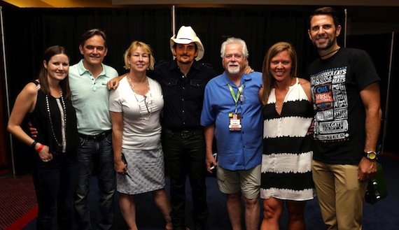 Pictured here, left to right, prior to Brad Paisley's Sunday evening LP Field performance at CMA Music Fest, are: Taylor Lindsay, Director, A&R, Sony Music Nashville; Mike Craft, Senior VP, Finance and Operations, Sony Music Nashville; Sarah Trahern, CEO, CMA; Brad; Bill Simmons, Fitzgerald-Hartley Management; Lesly Simon, VP, Promotion, Arista Nashville; and, Damon Whiteside, Senior VP, Marketing and Partnerships, CMA. Photo: Dusty Draper