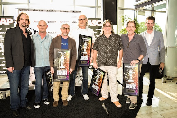 Pictured (L-R): MusicRow's Sherod Roberston, vocalist Wes Hightower, steel guitar player Russ Pahl, keyboardist Charles Judge, engineers Steve Marcantonio and Justin Niebank, and MusicRow's Eric T. Parker. Photo: Bev Moser