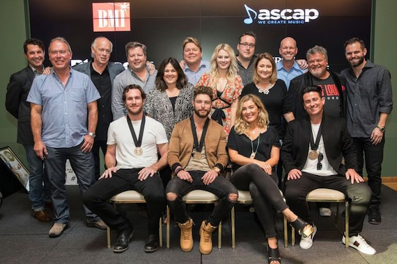 Pictured L-R: (back row) ASCAP's Michael Martin, Round Hill Music's Mark Brown, Big Yellow Dog's Kerry O'Neil, BMI's Bradley Collins, Big Yellow Dog's Carla Wallace, BMI's David Preston, ASCAP's Beth Brinker, Big Loud Records' Joey Moi, Major Bob's Music's Tina Crawford, Big Loud Records' Clay Hunnicut, Craig Wiseman, and Seth England (front row) Abe Stoklasa, Chris Lane, Sarah Buxton, Jesse Frasure. Photo: John Russell