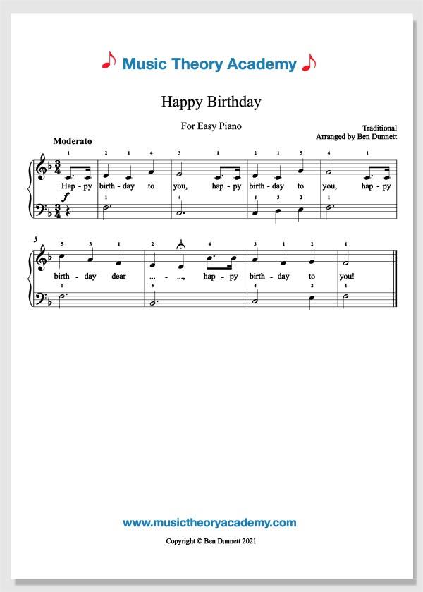 Happy Birthday Music Theory Academy Easy Piano Sheet Music