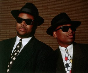 ca. 1990s, Minneapolis, Minnesota, USA --- Jimmy Jam and Terry Lewis of Flyte Time Records --- Image by © Layne Kennedy/CORBIS