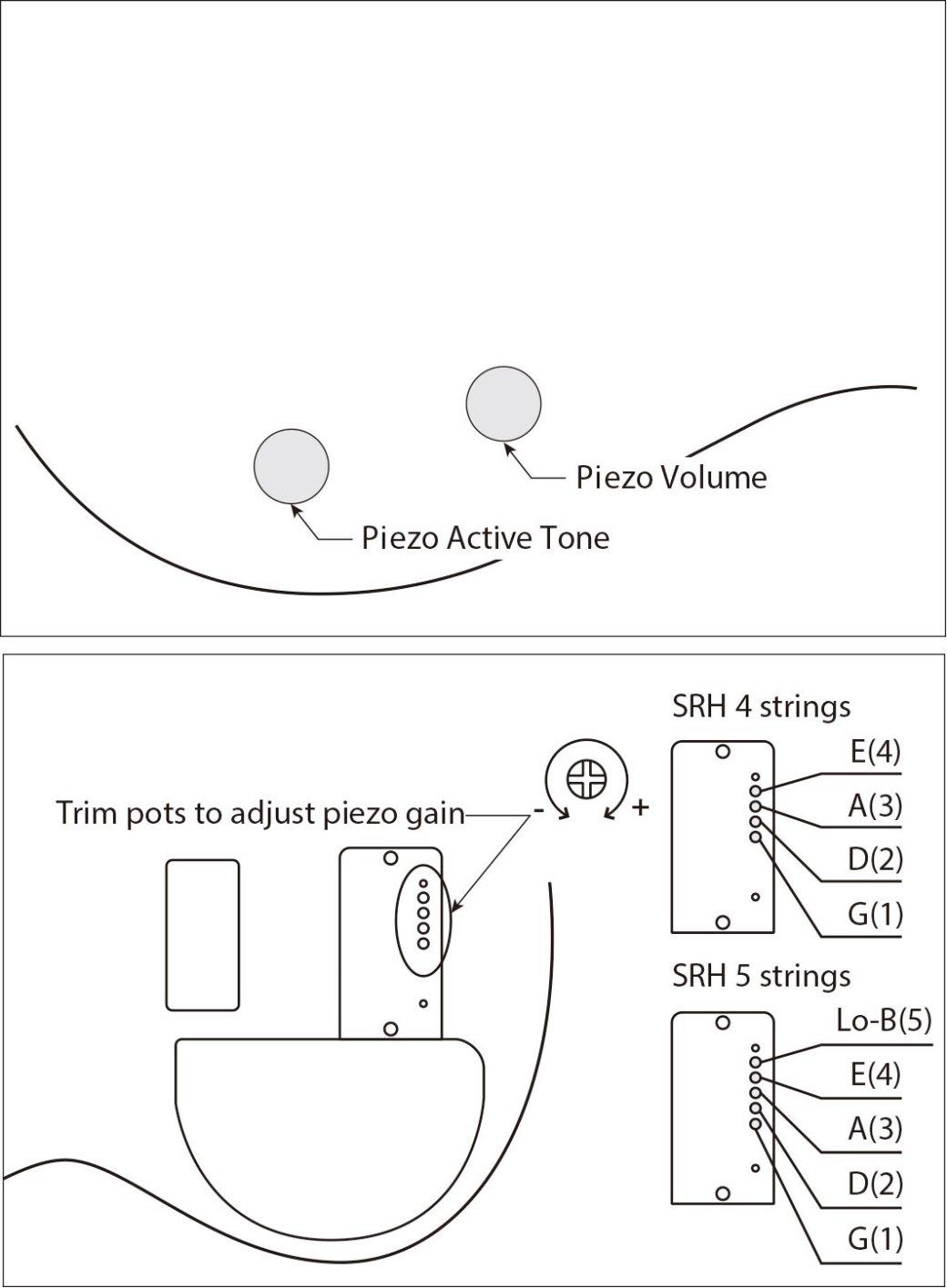 Schema circuitazione elettronica del basso Ibanez SRH500F