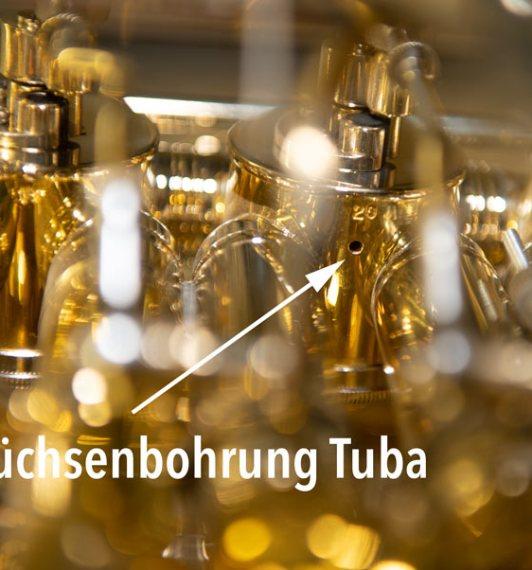 Büchsenbohrung bei einer Tuba mit Drehzylindern