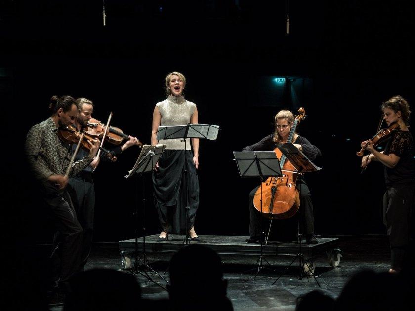 Das Sonar Quartett mit Virpi Räisänen in der Akademie der Künste Berlin/West. Foto: Hufner