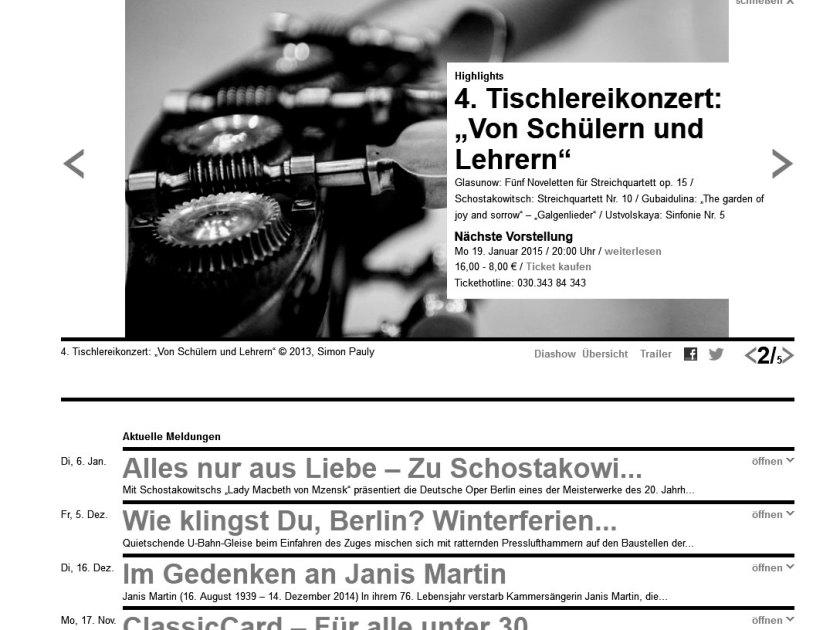 Deutsche Oper Berlin. Website. Screenshot 2015/01