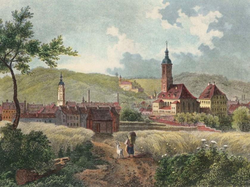 Friedrich Julius Umbach: Gera, Gesamtansicht, im Hintergrund Schloss Osterstein, um 1850, Stahlstich, koloriert.