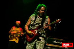 """Clifford """"Moonie"""" Pusey (R) and Amlak Tafari (L) perform live at The Forum in London"""