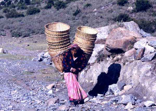 Woman with load of baskets