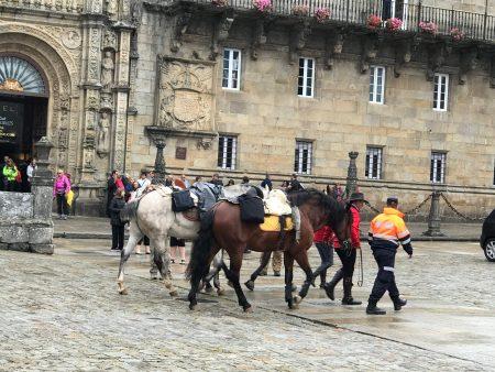 Pilgrims arriving on horseback