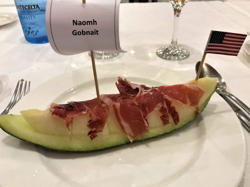 Our appetizer with our country's flag and the name of the Irish boat